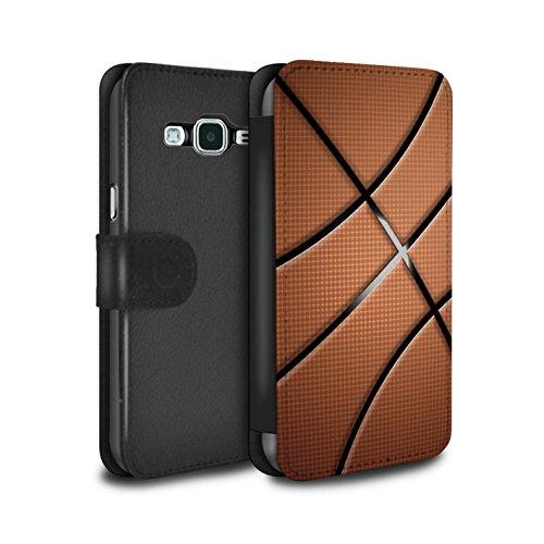 Stuff4 PU-Leder Hülle/Case/Tasche/Cover für Samsung Galaxy J5 2016 / Basketball Muster/Sport Bälle/Ball Kollektion