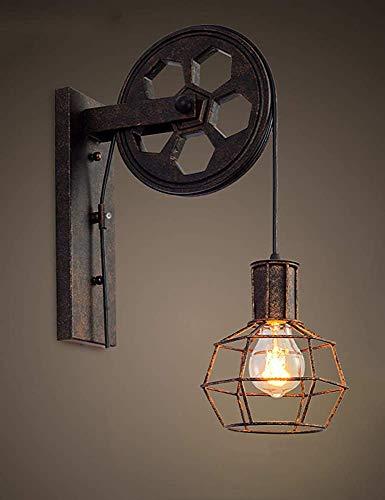 Gweat industriales pared Luces retras creativas lámpara Polea de elevación pasillo de la lámpara de pared del pasillo