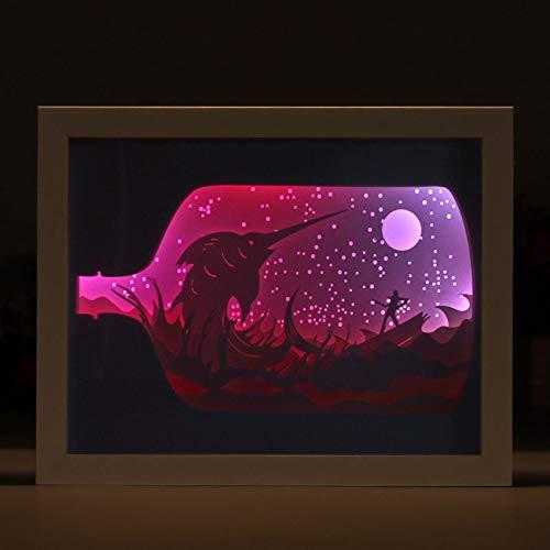 JZH-Light 3D illusie, optisch nachtlampje Old Man And Sea 7 kleuren LED-snijlamp met USB-poort voor kinderen verjaardagscadeau