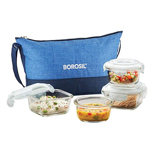Borosil - Prime Daisy Glass Lunch Box Set of 4, (320 ml Sq. + 240 ml Round) Microwave Safe Office Tiffin