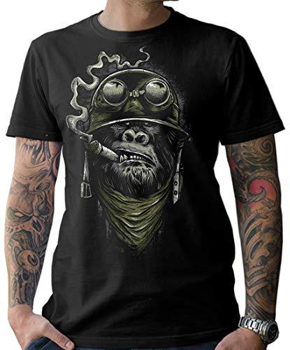 NG articlezz Herren Biker T-Shirt – Gorilla Monkey Kultiges Kurzarmshirt für die Motorradfahrer unter Euch. Gr. S-XXXXXL