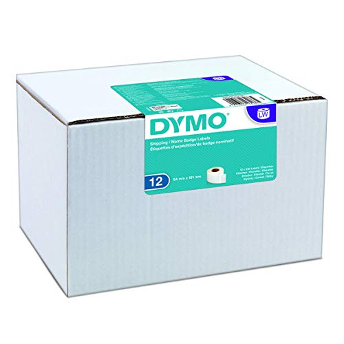 DYMO LW-Versandetiketten/-Namensschilder Selbstklebend (54mm x 101mm, für LabelWriter-Beschriftungsgeräte) 12Rollen mit je 220leicht ablösbaren Etiketten (2,640Etiketten) weiß