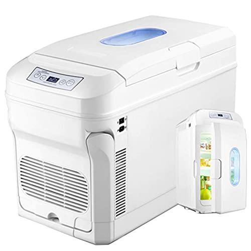 SHKUU Refrigeradores para automóvil 35 l, Caja refrigeradora eléctrica fría y Caliente Gran Capacidad, refrigerador portátil para medicinas CA/CC con Palanca Rueda para automóvil/camión/hogar