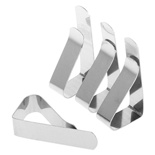A0127 Clip de Nappe Clip Nappe en Acier Inoxydable Fixation par Clip Pique-Nique en Plein air Ensemble de 4 pièces Argent Pince à Linge antidérapante Décoration de Cuisine