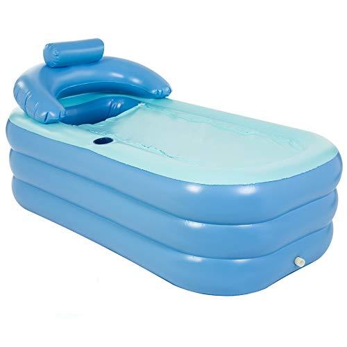 VONLUCE Aufblasbare Badewanne für Erwachsene, freistehende aufblasbare Badewanne mit faltbarer tragbarer Funktion für Erwachsene Spa mit Fuß-Luftpumpe