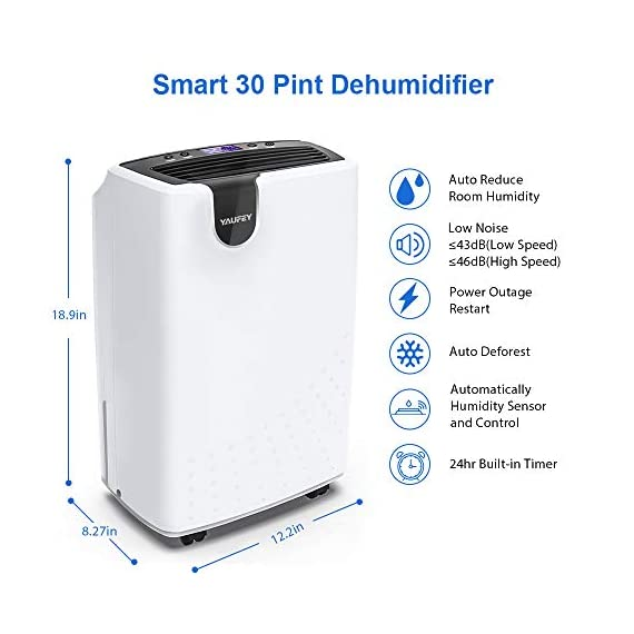 Yaufey 1500 sq. Ft dehumidifiers for home and basements, with continuous or manual drainage, intelligent control quietly… 4 professional and efficient dehumidification- with removal capacity of up to remove up to 32. 7 pints (under 95°f, 90%rh condition) of moisture per day. (please note: under 95°f, 90%rh condition, the max dehumidification capacity up to 32. 7 pints), it is an energy-efficient dehumidifier which is suitable for basement, home, bathroom, bedroom, garage, and other indoor spaces up to 1500 sq. Ft. Convenient and simple to use. Home appliances never need to be complicated, so our dehumidifier isn't. It features a light-touch intelligent control panel, which let you see the operating settings at a glance. Adjust to your ideal moisture setting, then let it run its continuous 24-hour cycle until the 1. 8l tank is full, at which point it will automatically shut-off. Tired of manual drainage? There's also a drain hose outlet for continuous draining. The 2-meter long drain hose is included. Multiple humanized features. You can select between regular and turbo fan speeds for optimal comfort. The low-noise design will get you far away from the disturbing noise when sleeping or studying. The removable and washable filter means easy maintenance — simply clean it regularly and then recycle. Program the 24-hour timer to suit your lifestyle and save energy costs. All of them can ensure you to have the best possible experience with our dehumidifier.