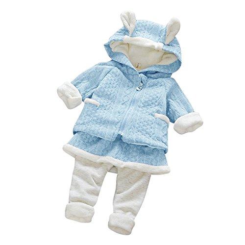 Bambino Maniche Lunghe Coniglio Top e Pantaloni 2pcs Thicker Abbigliamento Cotone Invernale Autunno Vestiti Set Rosso/Azzurro/Rosa