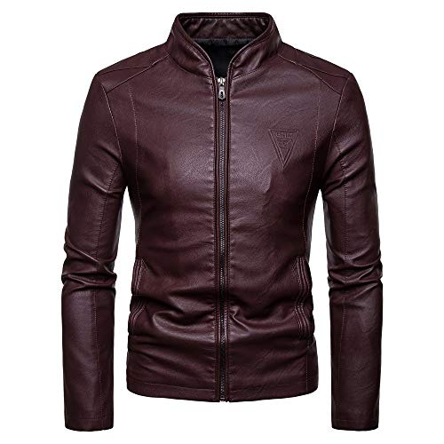 Purchase Milamy Men's Leather Jacket Slim Fit Waterproof Long Sleeve Outwear Autumn Winter Warm Ca...
