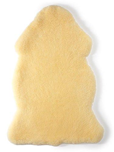 Baby Lammfell Exclusiv Naturfell geschoren/medizinisch gegerbt / 100% Merino Lammfell/medizinisches Baby-Fell/ideal für Kinderwagen, Krabbeldecke, Babybett/Natur-Farbe gold-gelb, Größe:70-80 cm