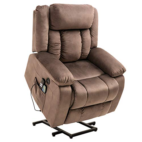 Mecor Power Lift Recliner Lift Chair for Elderly w/Adjustable Headrest Massage Recliner Chair with Heating System for Living Room(Brown-1)