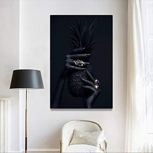 hetingyue Moderne Ölgemälde und Ananasplakate und -drucke Nordische Wandbilder Wohnzimmerdekoration rahmenlose Malerei 60x80cm