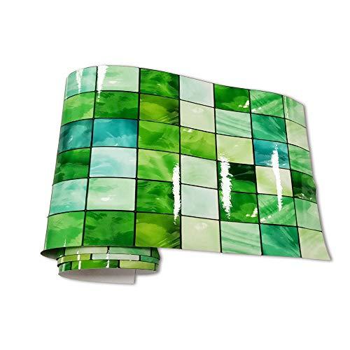 JMSHTU Azulejo pegatinas cocina baño frontera autoadhesiva mosaico verde DIY pared desprendible decoración impermeable