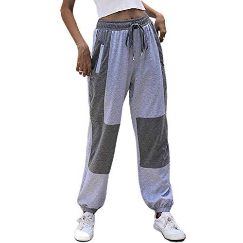 Longspeed Pantalones Deportivos Casuales con Costuras Sueltas Europeas y Americanas Pantalones Rectos Suaves de Cintura Alta para Mujer - Gris Claro - S