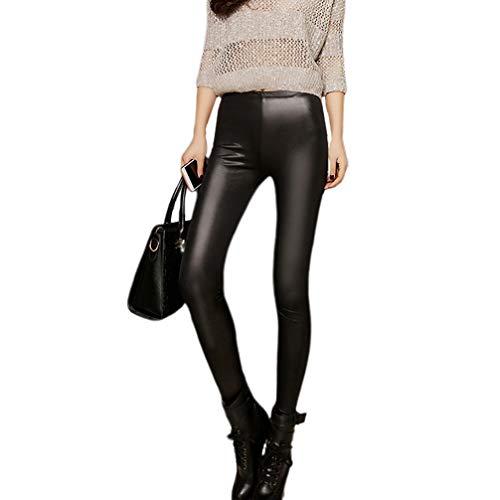 Amosfun vrouwen rekbaar imitatieleer legging broek hoge taille broek winter warm fleece gevoerde legging maat S