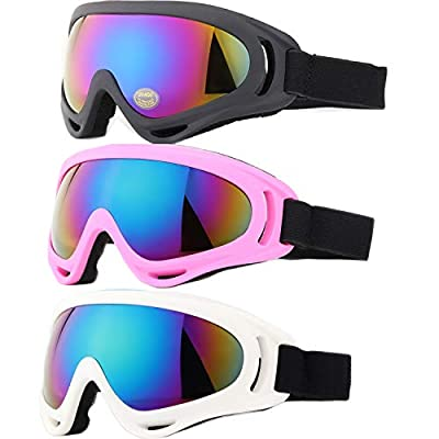 Yidomto Ski Goggles, Pack of 3 Snowboard Goggles for Kids,Boys,Girls,Youth, Mens,Womens,with UV Protection,Windproof,Anti Glare