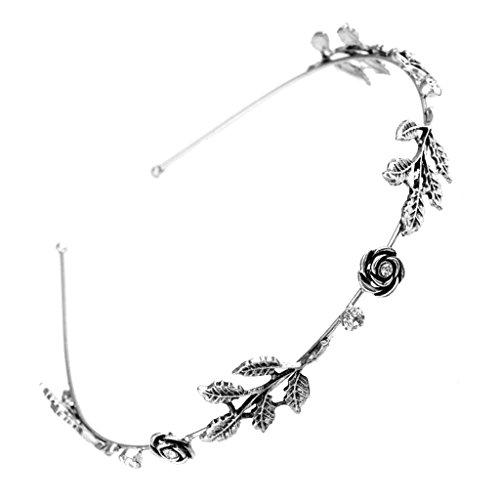 Niumanery Fashion Women Leaf Rhinestone Head Chain Jewelry Headband Head Piece Hair Band Silver