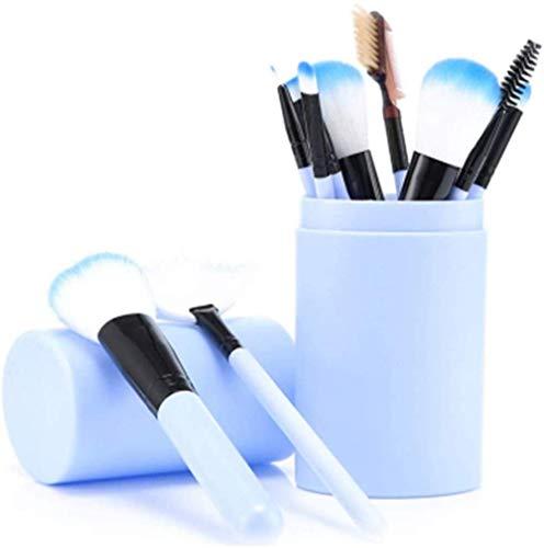 12 Pinceaux De Maquillage PCS Avec étui à Brosses Cosmétiques Professionnelles Pour Fond De Teint En Poudre, Fard à Paupières, Eye-liner, Rouge à Lèvres