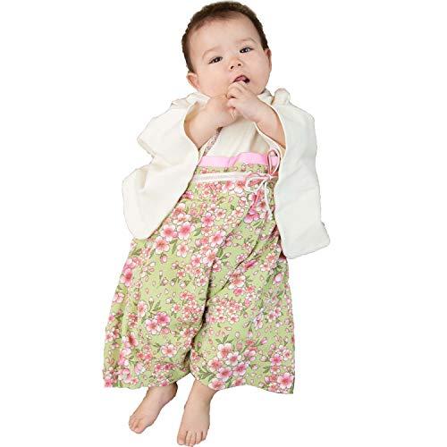 Sweet Mommy 袴 ロンパース ベビー 着物 カバーオール 日本製和柄ちりめん オーガニックコットン身頃 グリーン 50-70