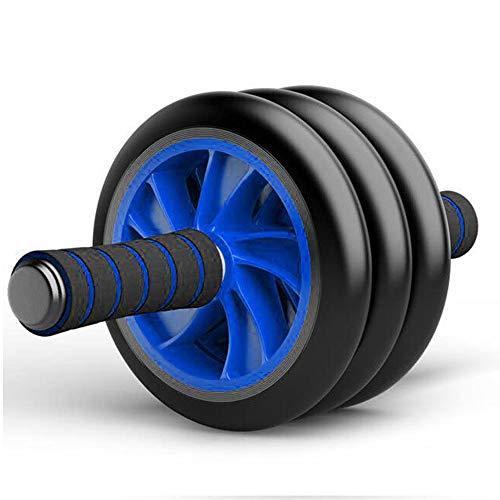 Good Times Bauchtrainer AB Roller Bauchroller Bauchmuskeltrainer mit Knieauflage, AB Wheel mit Kniematte für Fitness, Bauchmuskeltraining Muskelaufbau, Muskeltrainer Triple Rollen (Blau, 16cm Räder)