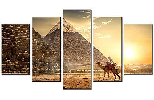 Wowdecor - Lienzo decorativo para pared, 5 paneles, diseño de pirámides egipcias, estampado en lienzo, para decoración de pared, Pyramids a, Small - Framed