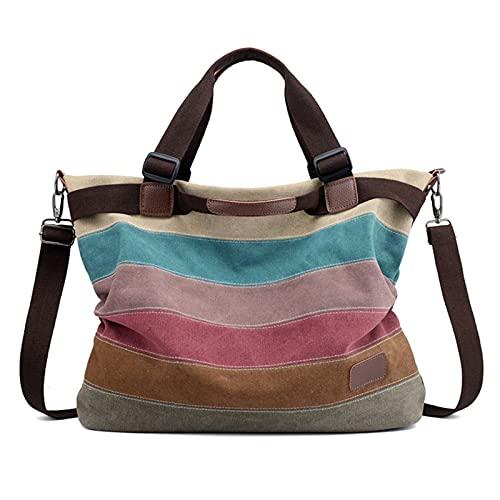 Women's Handbag Shoulder Bag, Lady 3 Ways Handbag Striped Tote Bag Casual Shopping Bag Top Handle Satchel Hobo Shoulder Bag College Briefcase Contrast Color Classic Lady Stylish Work B