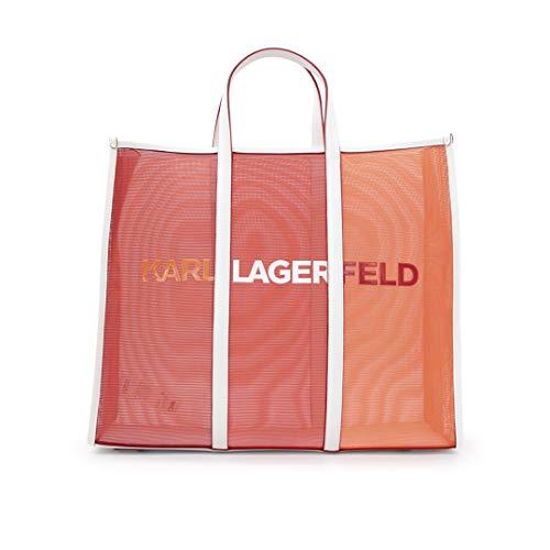 KARL LAGERFELD Sac 211W3909 en Mesh de Nylon couleur orange avec logo et poignées en cuir