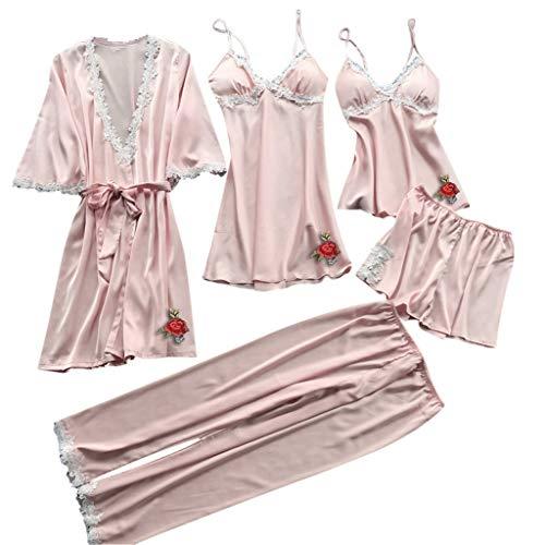 Lazzboy Frauen Spitze Dessous Nachtwäsche Unterwäsche Babydoll Kleid 5pc Anzug Satin Pyjamas Silk Lace V-Ausschnitt Kimono Cardigan Robe Damengeschenke Sling Dress(F,S)
