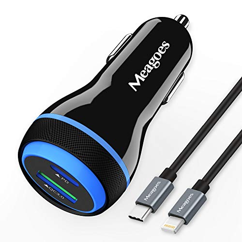 20W Fast USB C Car Charger, Meagoes PD[PPS] Rapid Charging Adapter Compatible for Apple iPhone 12/Pro/Max/Mini/11/XS/XR/X/8/Plus/SE 2020/iPad/Air - 3.3ft MFi Certified Type C to Lightning Cable Cord