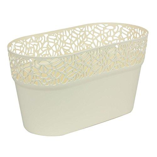 Ovale cache-pot NATURO plastique romantique style, creme