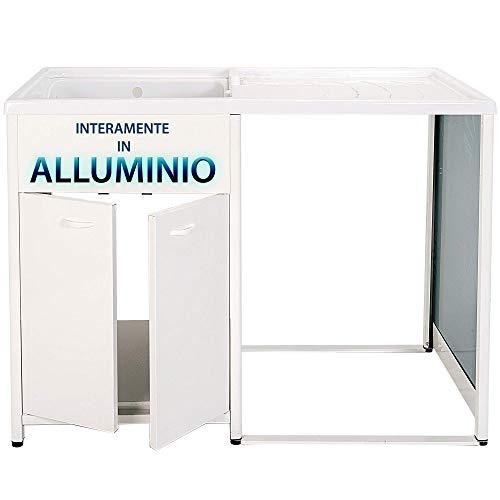 Mobile lavatoio a sinistra con coprilavatrice IN ALLUMINIO, per lavanderia e da esterno, sifone in omaggio, bianco, VASCA TOP LINE, moderno. Escelsior (L125 x P65x H91SX)