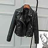 Damen Lederjacke,Modeklassiker Vintage Black Silm Punk Lässig Revers Damen Leder Biker Moto Jacke,...
