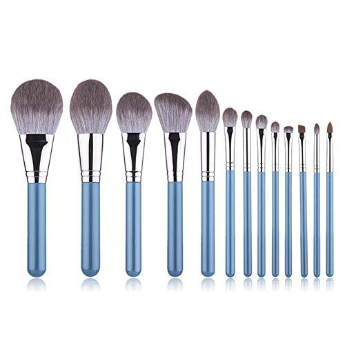 HU Adolescent Yeux Brosse de Maquillage, 13 Pcs Blue Mix Pinceau Fard à paupières Eyeliner Pinceau