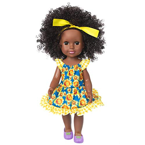 Ecore Fun Black Doll 14.5 Inch Baby Girl Doll Clothes Set with Headband African Washable Realistic Silicone Girl Dolls -Best Gift for Kids Girls