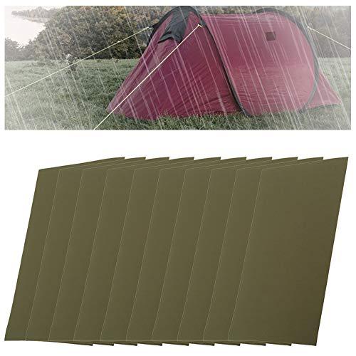 Mirrwin Piscina Patch per Tenda da Campeggio Autoadesivo Riparazione Piscina Patch Kit Riparazione Gommone per Telone Tende Zaini Giacche Antipioggia Piumini Ombrello 10 Fogli (Verde)