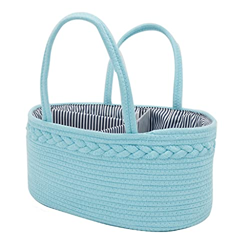 PHILSP Bolso de pañales Organizador de Carrito de pañales para bebés Cuerda de algodón portátil Bolso de Cesta de Almacenamiento para guardería