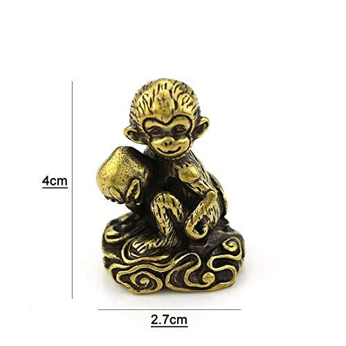 QIBAJIU Escultura Decoración Estatuas para Jardín Mono con Melocotón Latón Vintage Animal Estatua Figura De Metal Decoración De Escritorio De Oficina En Casa Adorno