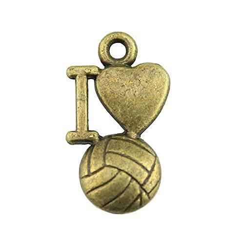 WANM Colgante 20 Piezas I Love Volleyball Charm para Joyería Make I Heart Voleibol Ball Charm I Love Volleyball Ball Colgante 9X16Mm