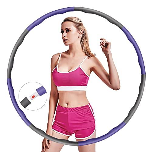 RLBUNZ Hula Hoop Reifen Erwachsene, Hoola Hoop Reifen zur Gewichtsabnahme und Massage Hullahub Reifen mit 8 Abnehmbare Abschnitte Fitness Hula Hoop für Übung, Training, Sport, Gym, Bauchformung