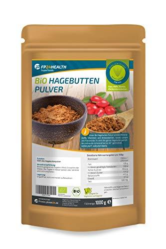 FP24 Health Bio Hagebuttenpulver 1kg - 100% Rohkost - Rosa Canina - Ökologischer Anbau - im Zippbeutel - Bio Hagebutten gemahlen - 1000g - Premium Qualität