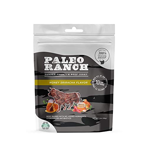 PALEO RANCH Grass-Fed Beef Jerky, All Natural, No Added Hormones, No Preservatives, 2 Ounce (Honey Sriracha, 8 Pouches)
