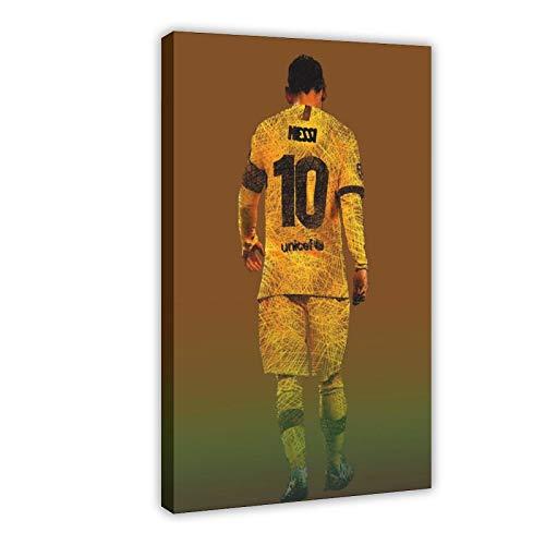 Lionel Messi Póster de fútbol de fútbol 1 lienzo para decoración de dormitorio, oficina, dormitorio, decoración de dormitorio, regalo de 30 x 45 cm, marco1