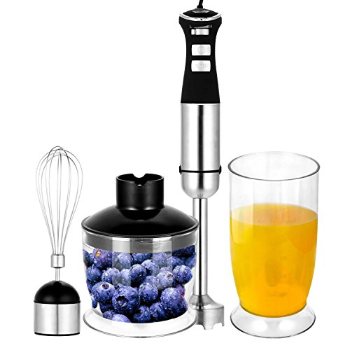 4-in-1 5 Speed Smoothie Maker with Whisk Attachment Stainless Steel Electric Hand Blender Set Black