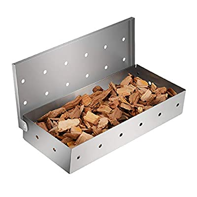 LDXZPX Smoker Box for Grill BBQ Wood Chips,Stainless Steel Smoking Box-Grilling Accessory for Gas or Charcoal Grills