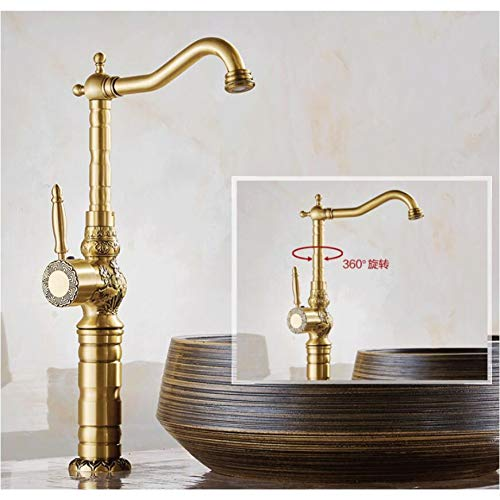 Find Bargain TJJL Antique Brass Basin Faucet Carved Brass Crane Bathroom Sink Faucet 360 Degree Swiv...