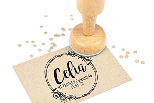 Sello Comunion Personalizado, Sello de Madera con tampón de tinta, Sellos Personalizados Comunion  Corona Flores