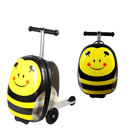 Kids Scooter Bagage, Folding Scooter in hoogte verstelbare Rod Lock Kinderen Travel Scooter Scooter met Sporttas Kinderen Speelgoed Sport, regenboog Leuk speelgoed voor kinderen. (Color : Bee)