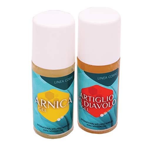 Arnica roll on 50 ml e artiglio del diavolo roll on 50 ml (1 confezione di ognuna), 100% naturale, contusioni, dolori, mal di schiena, cervicalgie, strappi.