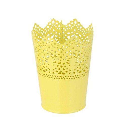 Daorier 1 Pcs Porte-stylo Creux fleur et dentelle en plastique Porte-crayons Maquillage Porte-brosse Bureau Stockage Seau Fleur Barils Rose