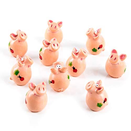Logbuch-Verlag 10 pequeños cerditos de la suerte, color rosa, 2,5 cm, amuleto de la suerte, talismán, decoración de mesa, Nochevieja, Año Nuevo, boda, cumpleaños