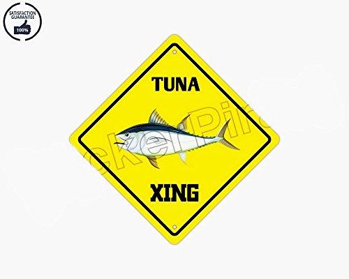 VinMea - Placa de metal de aluminio con texto en inglés Atún Crossing Funny Cartel de regalo de 12 pulgadas x 12 pulgadas para decoración de cueva del hombre/hombre